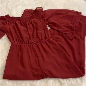Bebe cranberry jumpsuit